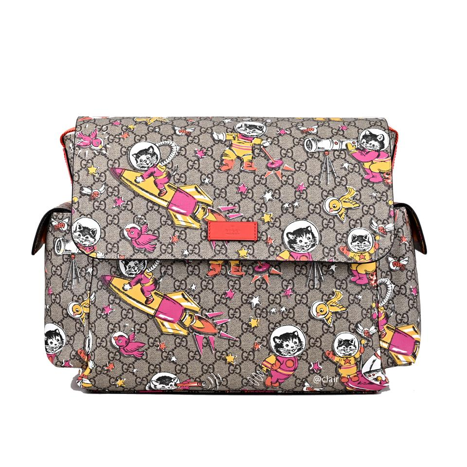 e26823324b5 Gucci Gg Cat Space Moon with Changing Pad Multiclor Supreme Canvas Leather Diaper  Bag