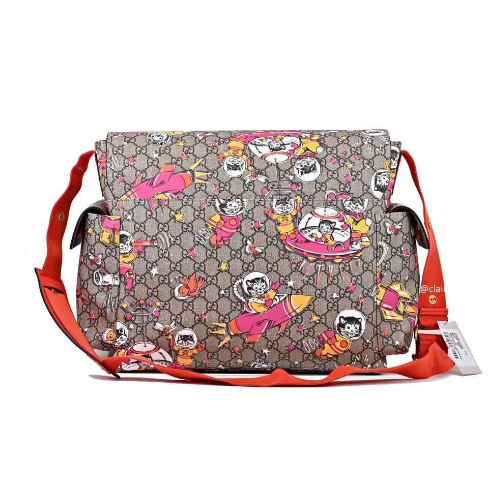 78090f497830 Gucci Gg Cat Space/Moon with Changing Pad Multiclor Supreme Canvas/Leather Diaper  Bag - Tradesy