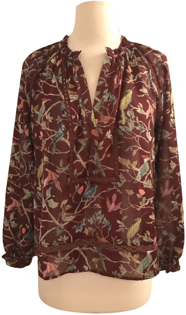 Item - Mahogany Multi XS Point Sur Ruffle-neck Popover In Menagerie Print Blouse Size 2 (XS)