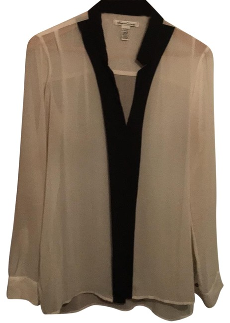 Preload https://img-static.tradesy.com/item/24898957/kenneth-cole-ivory-and-black-sheer-blouse-button-down-top-size-8-m-0-1-650-650.jpg