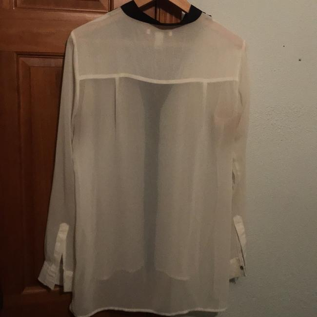 Kenneth Cole Button Down Shirt ivory and black Image 1