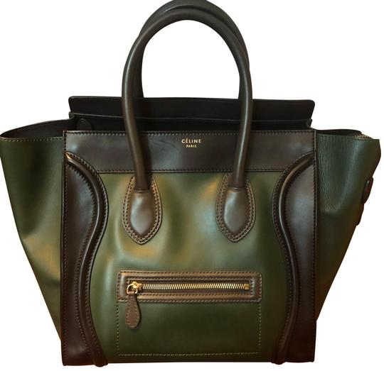 Céline Tote in black green with grey handle Image 0