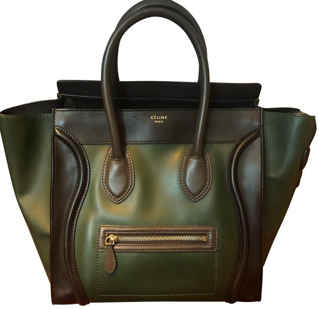 Item - Luggage Mini Black Green with Grey Handle Calfskin Leather Tote
