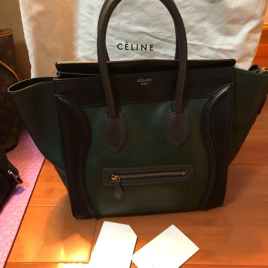 Céline Tote in black green with grey handle Image 1