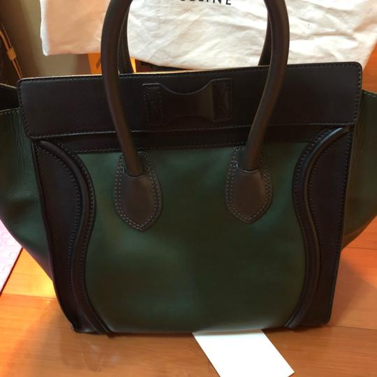 Céline Tote in black green with grey handle Image 12