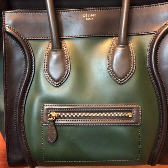 Céline Tote in black green with grey handle Image 16