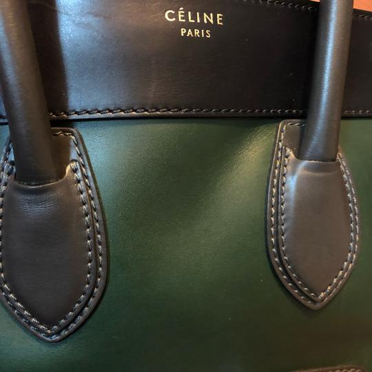 Céline Tote in black green with grey handle Image 18