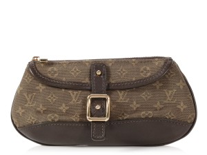 Louis Vuitton Brown Lv Lv.q0122.08 Gold Hardware Anne Sophie Green Clutch