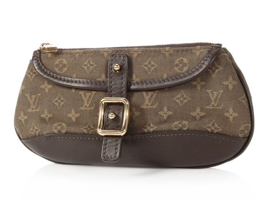 Louis Vuitton Brown Lv Lv.q0122.08 Gold Hardware Anne Sophie Green Clutch Image 1