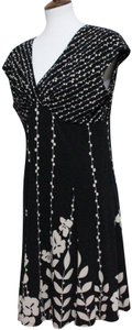 Black & White Maxi Dress by Jones New York Floral Elegant Stretchy