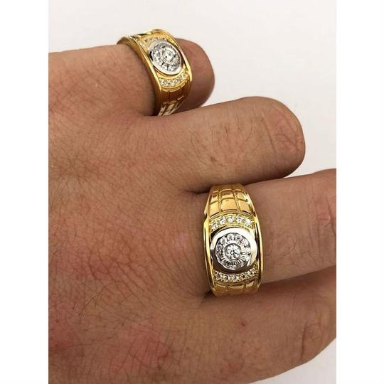 Harlembling Men's 14k Gold & Real Solid 925 Silver Diamond RING Iced Out Size 7 8 Image 2