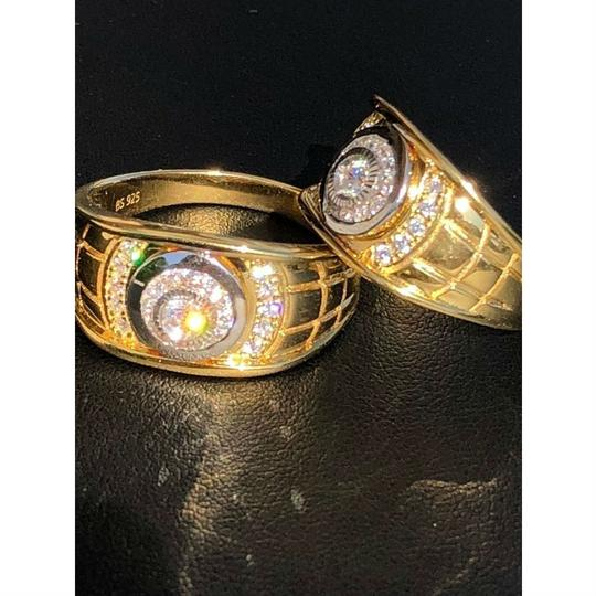 Harlembling Men's 14k Gold & Real Solid 925 Silver Diamond RING Iced Out Size 7 8 Image 3