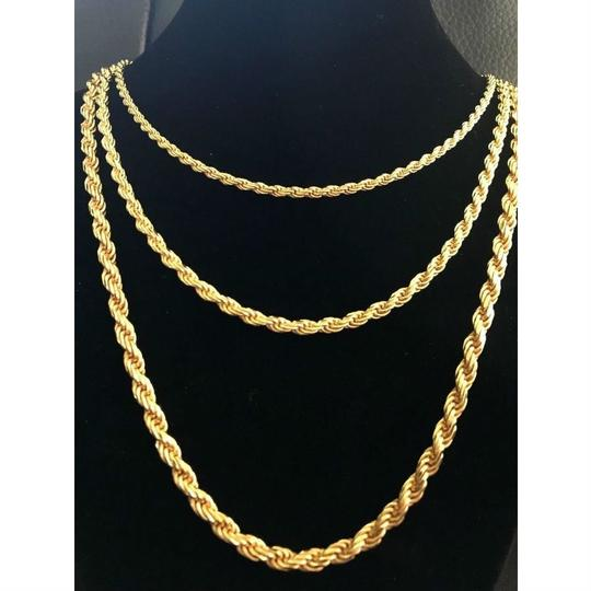 Harlembling Men's 14K Gold Over Real Solid 925 Silver Rope Chain MADE IN ITALY Image 2