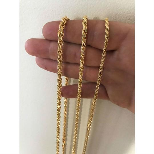 Harlembling Men's 14K Gold Over Real Solid 925 Silver Rope Chain MADE IN ITALY Image 4