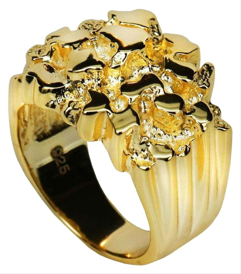 0d0561d27 Harlembling Men s 14k Gold Over REAL Solid 925 Sterling Silver Heavy Nugget  Ring Image 0 ...