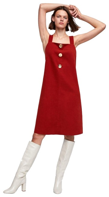 Item - Red Strawberry Wide Straps Suede-feel Buttoned New Mid-length Cocktail Dress Size 10 (M)