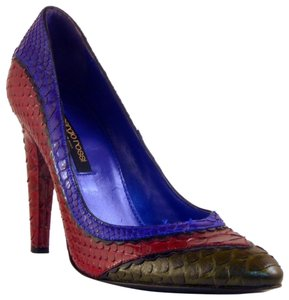 Sergio Rossi Snakeskin Eclectic Funky Red Blue Multi Pumps