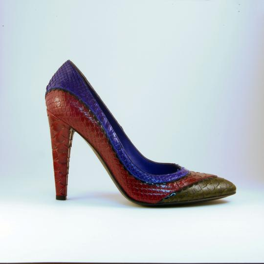 Sergio Rossi Snakeskin Eclectic Funky Red Blue Multi Pumps Image 1