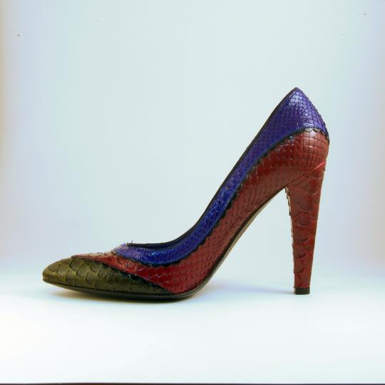 Sergio Rossi Snakeskin Eclectic Funky Red Blue Multi Pumps Image 2