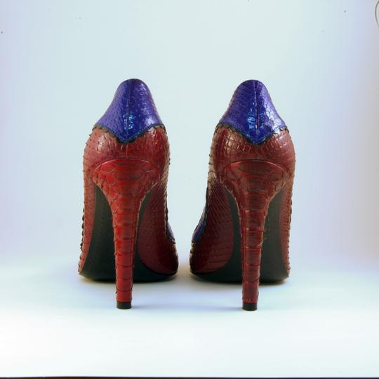 Sergio Rossi Snakeskin Eclectic Funky Red Blue Multi Pumps Image 3