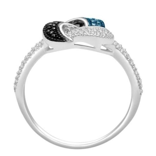 Elizabeth Jewelry 0.25 Carat Blue, Black and White Diamond Ring 925 Sterling Silver Image 1