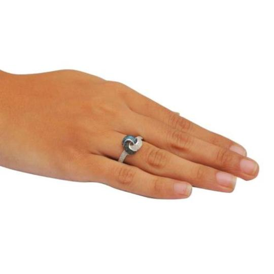 Elizabeth Jewelry 0.25 Carat Blue, Black and White Diamond Ring 925 Sterling Silver Image 2