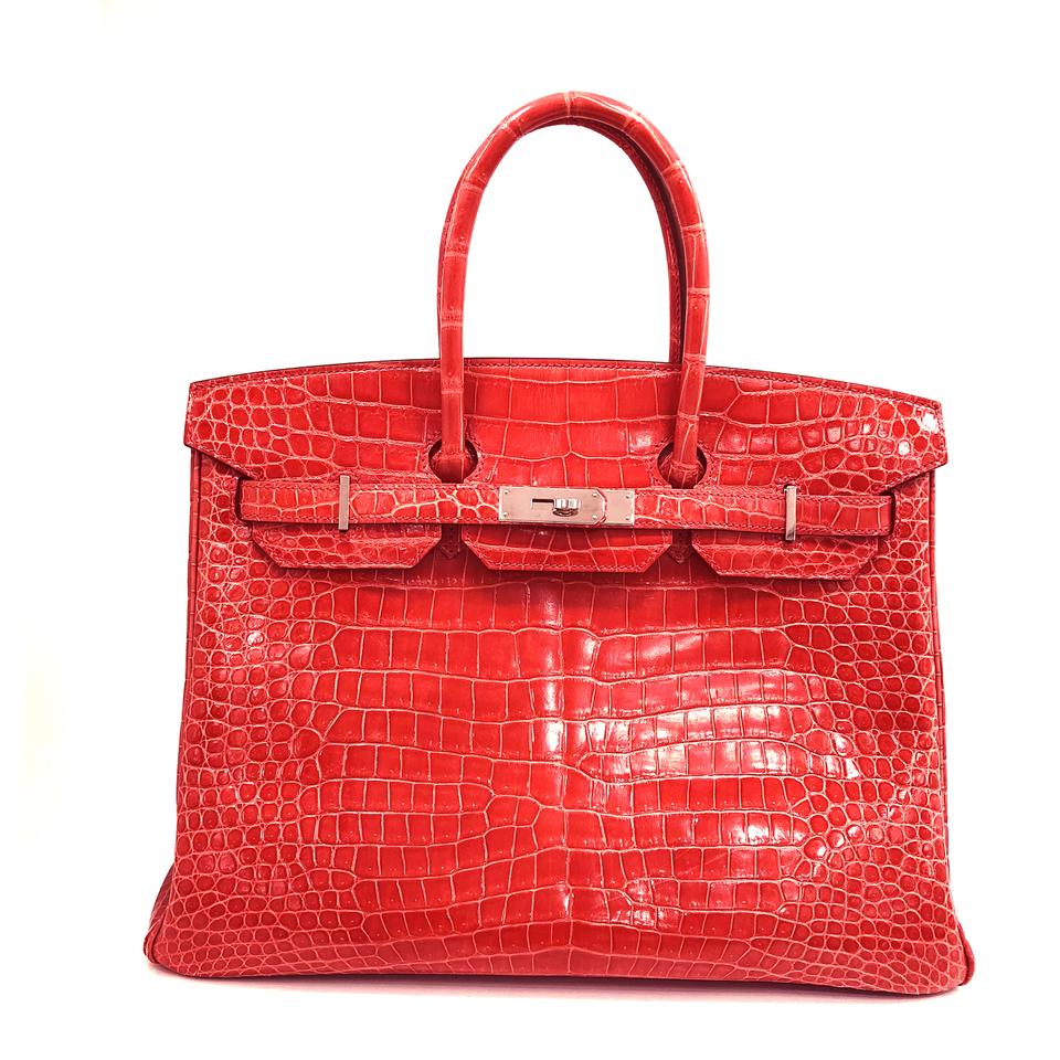 c5f234fc2a Hermès Birkin Watermelon Red Crocodile Skin Shoulder Bag - Tradesy