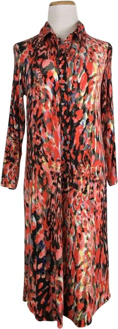 Item - Red Women's Longsleeve Stretch Fit Abtract Painted Long Casual Maxi Dress Size 6 (S)