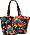 PilyQ black floral Beach Bag