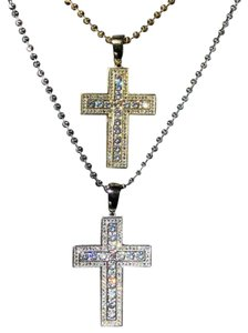 Harlembling Men's Cross Pendant Sterling Silver 925 *14k Gold Plated* 1.2ct Lab