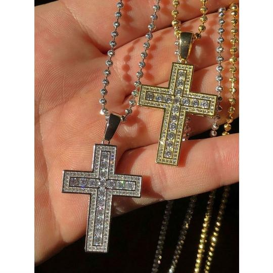 Harlembling Men's Cross Pendant Sterling Silver 925 *14k Gold Plated* 1.2ct Lab Image 1