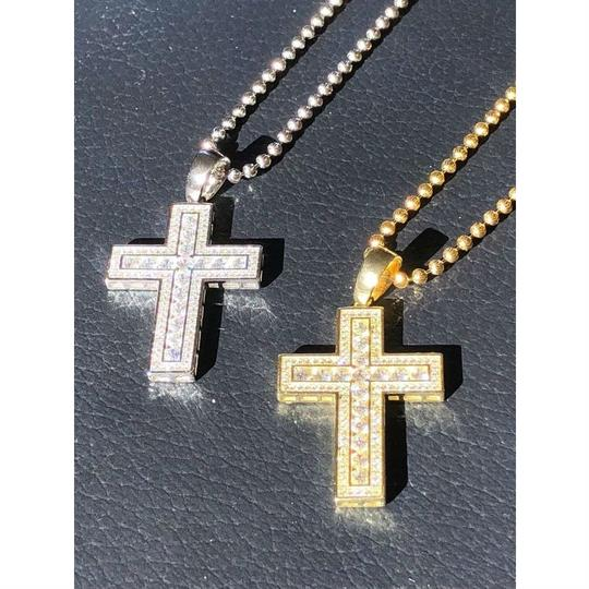 Harlembling Men's Cross Pendant Sterling Silver 925 *14k Gold Plated* 1.2ct Lab Image 2