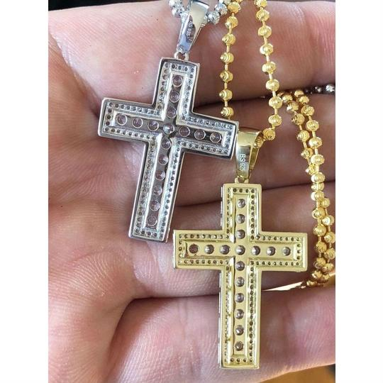 Harlembling Men's Cross Pendant Sterling Silver 925 *14k Gold Plated* 1.2ct Lab Image 3