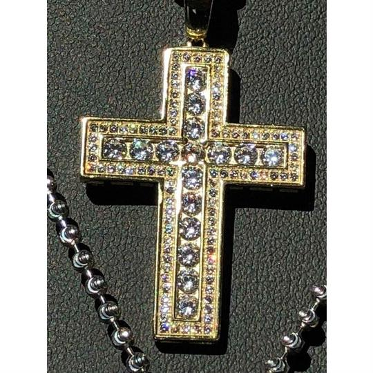 Harlembling Men's Cross Pendant Sterling Silver 925 *14k Gold Plated* 1.2ct Lab Image 5