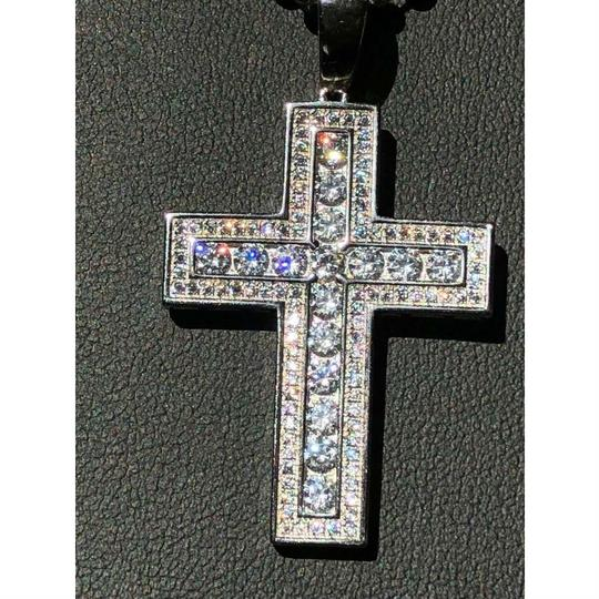 Harlembling Men's Cross Pendant Sterling Silver 925 *14k Gold Plated* 1.2ct Lab Image 6