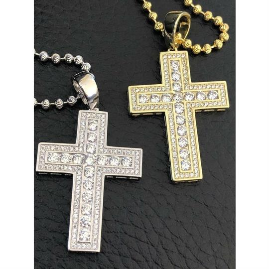 Harlembling Men's Cross Pendant Sterling Silver 925 *14k Gold Plated* 1.2ct Lab Image 7