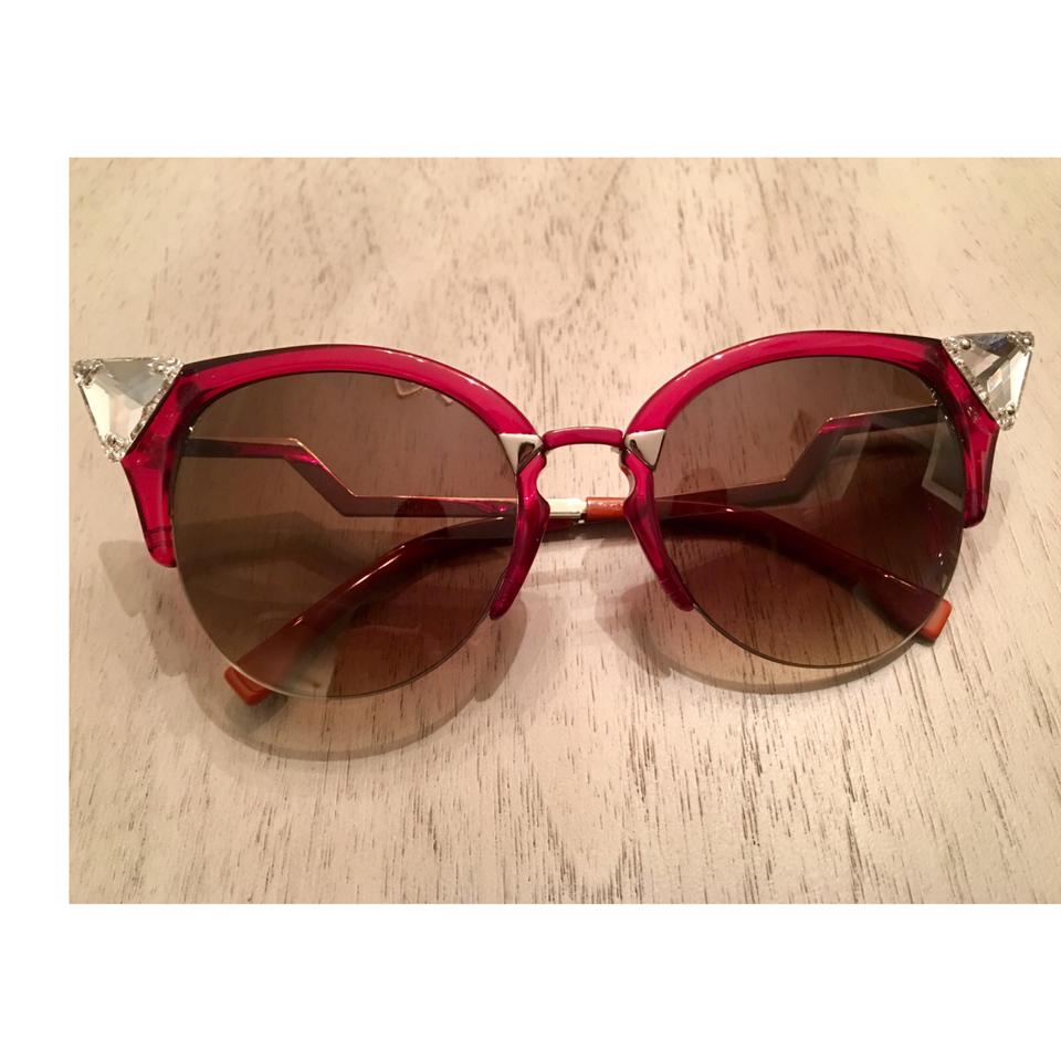ccf873a371 Fendi Red Iridia Cat Eye Crystal Tip Sunglasses - Tradesy