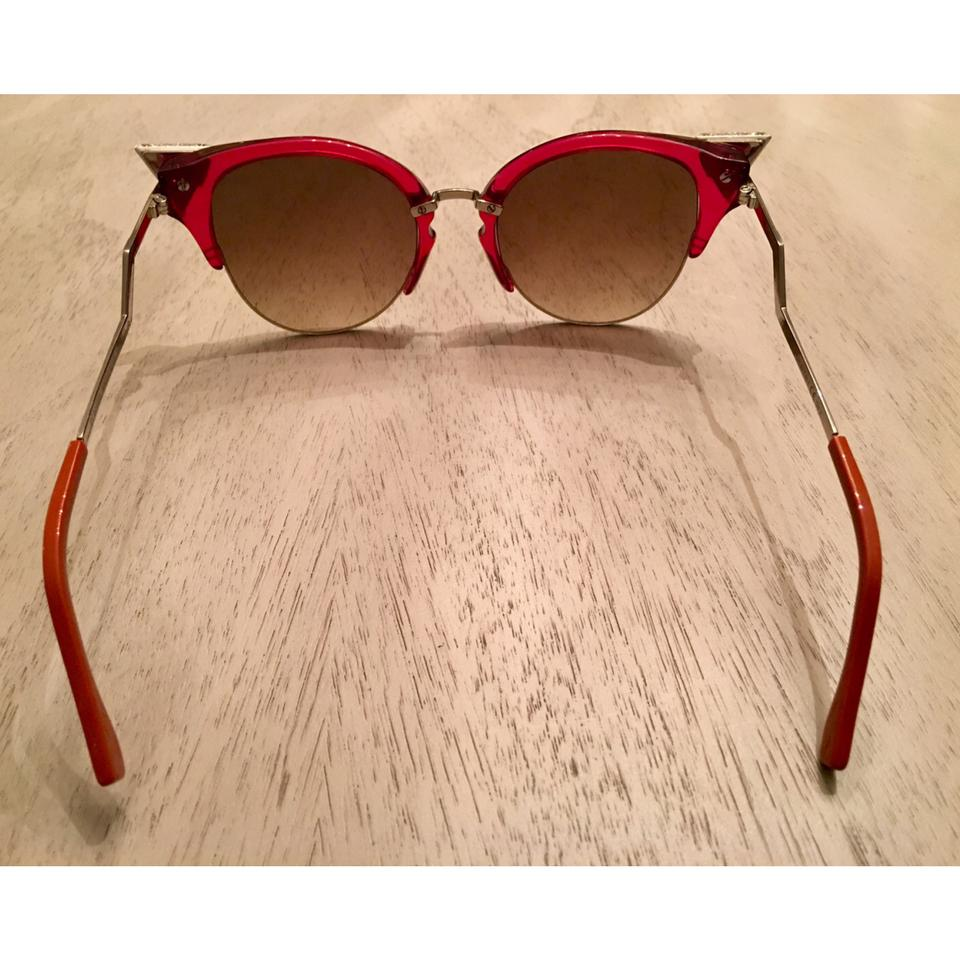 69bd2a70ab Fendi Red Iridia cat eye crystal tip sunglasses. 1234567891011