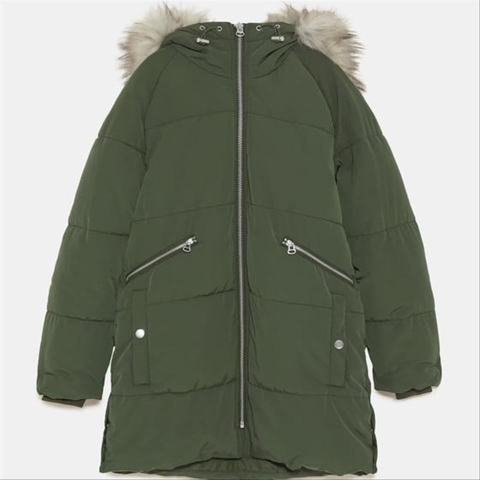 cf2f3c56 Zara Khaki New Padded Parka with Hood Coat Size 12 (L) - Tradesy