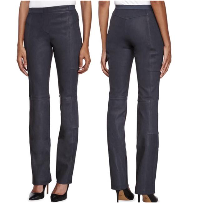 Halston Genuine Leather Leather Stretch Leather Straight Pants gray Image 1