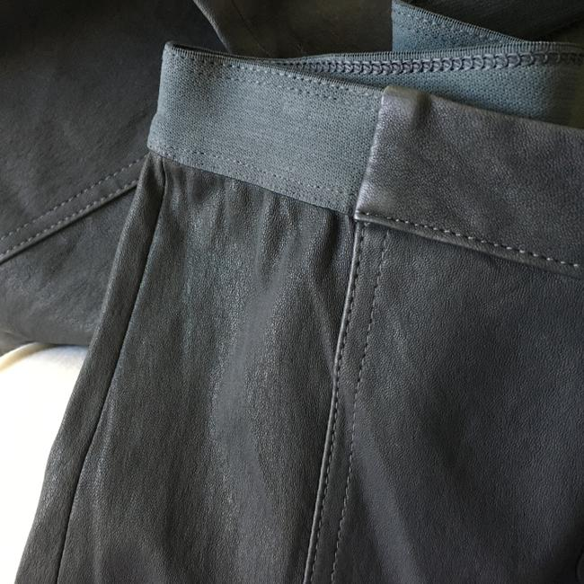 Halston Genuine Leather Leather Stretch Leather Straight Pants gray Image 2