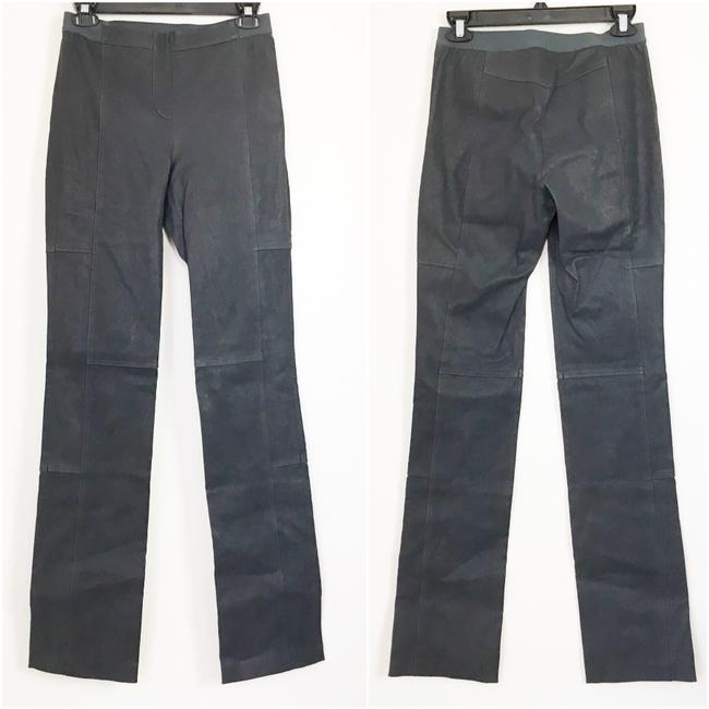Halston Genuine Leather Leather Stretch Leather Straight Pants gray Image 3