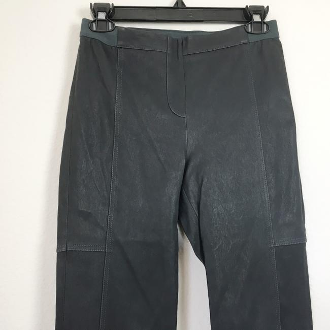 Halston Genuine Leather Leather Stretch Leather Straight Pants gray Image 4