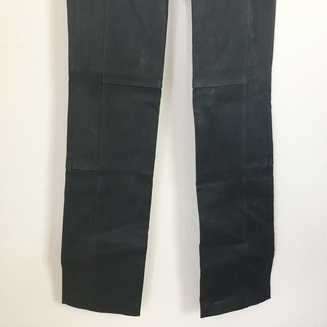 Halston Genuine Leather Leather Stretch Leather Straight Pants gray Image 6