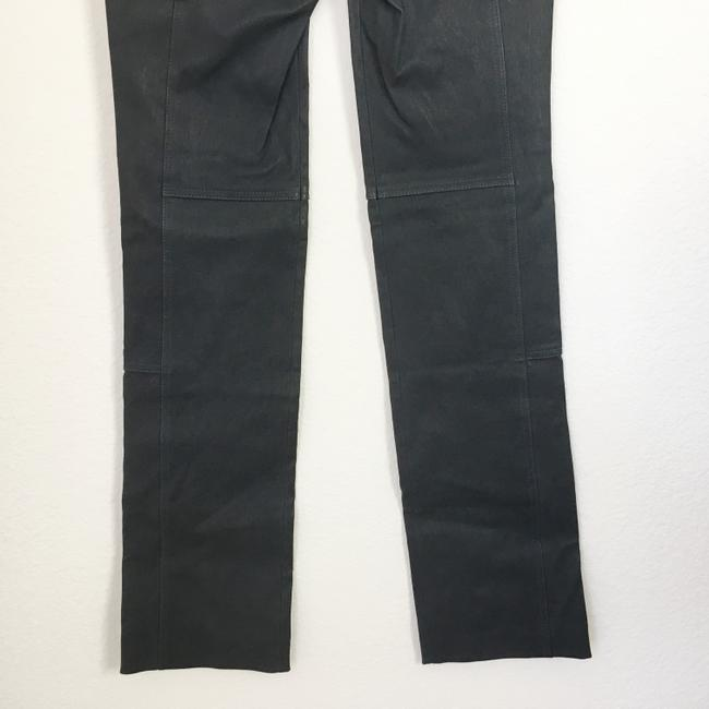 Halston Genuine Leather Leather Stretch Leather Straight Pants gray Image 8