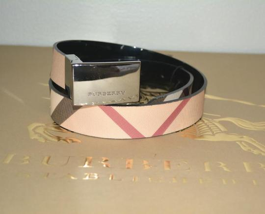 Burberry House Check and Black PVC and Patent Leather Reversible Belt Image 2