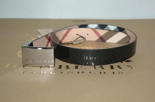 Burberry House Check and Black PVC and Patent Leather Reversible Belt Image 5
