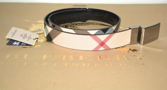 Burberry House Check and Black PVC and Patent Leather Reversible Belt Image 6