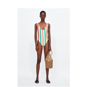 Zara new COLORFUL STRIPED SWIMSUIT