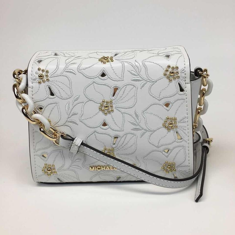 Michael Kors Sofia Small Perforated Fl Studded Optic White Leather Cross Body Bag 61 Off Retail